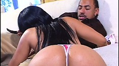 Ebony hottie with a big round ass and sexy tits sucks and fucks a huge black cock