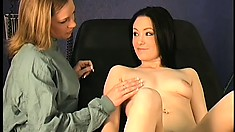 Naughty doctor takes advantage of two attractive young lesbians