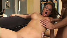 Insatiable brunette needs to hard pricks to fulfill her sexual desires