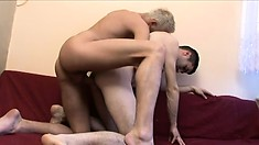 Hot boy Sasa loves how his blonde lover pounds his ass bareback on the couch