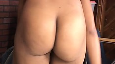 Hot Black girl strips for the camera and decides to fuck the camera guy, too