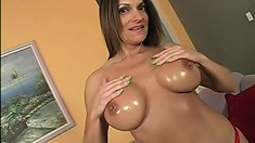 Big boob Milf poses, blows his big rod and gets cunt filled with cock and cum