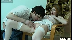 Irene A takes care of her man Adam after his hard day at work