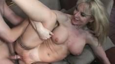 Stockinged MILF Nina Hartley filmed doing it the genuine porn way