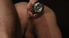 Leather fetish stud opens up some butthole with his huge cock