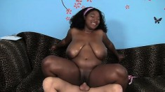 Marie Leone is a black chick with huge knockers gets her tits oiled