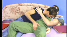 Sexy twink seduces the repair guy and fucks his ass on the couch