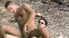 Excited big-dicked guys like having outdoor bareback fucking