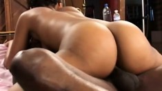 Hairy bush ebony gets her cunny drilled and takes his full load