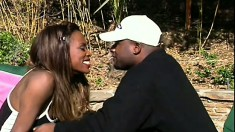 Skinny brunette with a nice rack takes it from her black lover