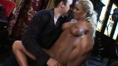Slutty blonde Sophia Sandobar slurps on his sausage and gets slammed