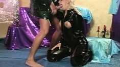 Voluptuous blonde has a great time being choked and giving head