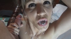 Marvelous housewife Emy Banx plays with sex toys and blows a fat cock