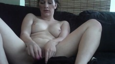 Stacked girlfriend Kitten pleases her shaved pussy with a pink dildo