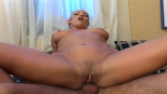 Nasty blonde eats his rod and gets nailed so she can swallow his jizz