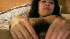 Sexy girl gets her hairy twat banged deep and takes a mouthful of cum