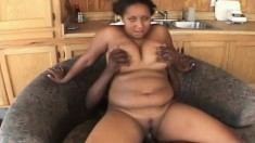 Chubby black Insatiable puts his pecker in all of her holes to pump