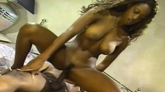 Sexy black hottie munches on a big prick and gets her pussy pounded