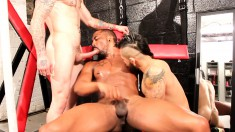 Hung black guy playing out his sexual fantasy with two sexy white boys