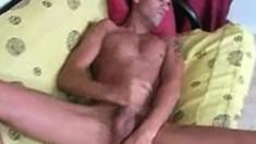 Naughty inked dude slides his hand down his underwear to pleasure himself