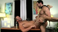Passionate studs exchange blowjobs and indulge in intense anal fucking