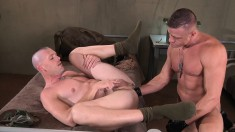 Hot military boy invites his muscled lover to fist his tight anal hole