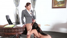 Hot Secretary Gives Her Boss Nice Ass And They Take Turns Eating Pussy