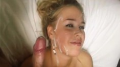 Girlfriend gives him going away blowjob handjob facial