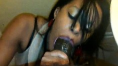 Nasty ebony Candy Stick makes handjob and blowjob