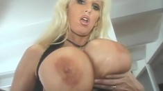 Chubby Blonde MILF Showing Her Big Boobs