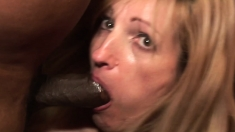 Horny amateur milf in interracial scene