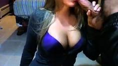 Sexy Cleavage Girl Shows Her Sucking Skills