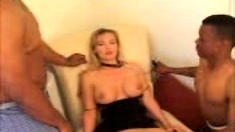Facial Threesome With A Blonde And Two Big Cocks