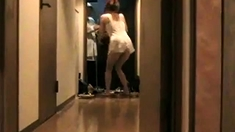 Filming his asian wife flashing the delivery man