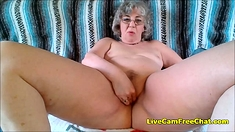 Hot Granny With Short Curly Hair And Glasses Has Young Pussy