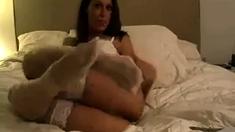 Miss Ashley Masturbates In White Stockings (anal With Dildo)