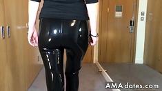 Sexy Latex Liquid Leggings with Red Stilettos Fetish