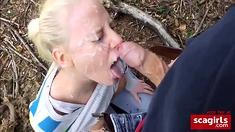 hot german amateur blonde outdoor blowjob nice facial
